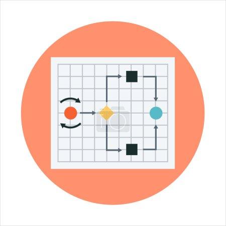 Illustration pour Diagramme, carte mentale Style plat coloré, icône vectorielle pour les graphiques d'information, les sites Web, les médias mobiles et imprimés . - image libre de droit