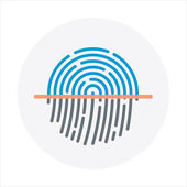 Identity, fingerprint theme, flat style, colorful, vector icon f