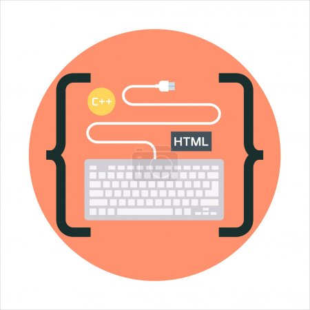 Coding theme, flat style, colorful, vector icon for info graphic