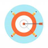 Target, success theme, flat style, colorful, vector icon set for