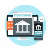 Online banking theme flat style colorful vector icon