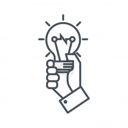 Hand holding a light bulb icon