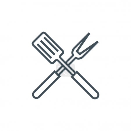 Illustration for Barbecue icon suitable for info graphics, websites and print media. Vector, line icon. - Royalty Free Image