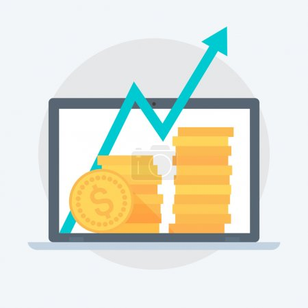 Illustration pour Business Growth style plat, coloré, icône vectorielle pour les graphiques d'information, les sites Web, les médias mobiles et imprimés . - image libre de droit