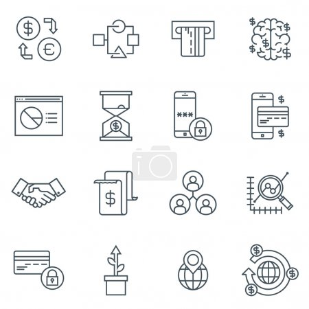 Illustration for Business and finance icon set suitable for info graphics, websites and print media. Black and white flat line icons. - Royalty Free Image