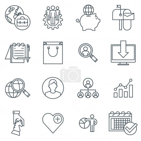 Illustration pour Ensemble d'icônes d'affaires et de marketing adapté aux graphiques d'information, aux sites Web et aux médias imprimés. Icônes de ligne plate noir et blanc . - image libre de droit