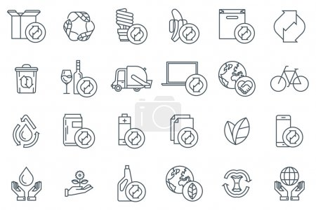 Illustration for Flat; vector; business; sign; commerce; responsive icon; seo icon; isolated; line; recycling; environmental; environment; water; purity; water treatment; compost; recycling centre; waste management; garbage truck; garbage bin; paper; cardboard box; g - Royalty Free Image