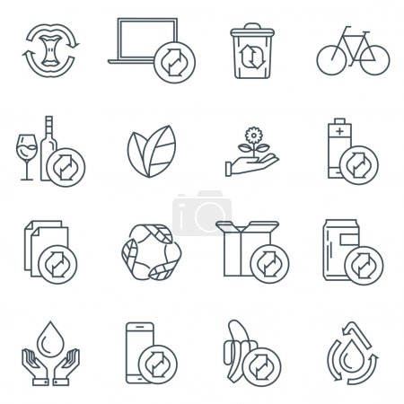Illustration for Recycling icon set suitable for info graphics, websites and print media. Black and white flat line icons. - Royalty Free Image