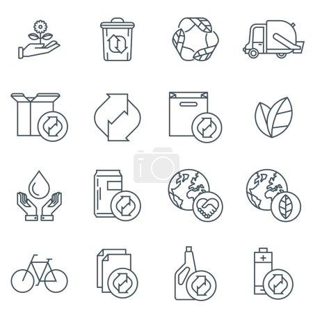 Illustration pour Ensemble d'icônes de recyclage adapté aux graphiques d'information, aux sites Web et aux médias imprimés. Icônes de ligne plate noir et blanc . - image libre de droit