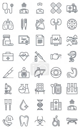 Illustration for Hospital, health icon set suitable for info graphics, websites and print media. Black and white flat line icons. - Royalty Free Image