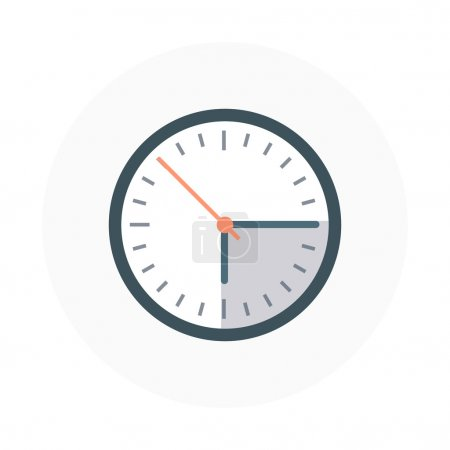 Illustration for Clock flat style, colorful, vector icon for info graphics, websites, mobile and print media. - Royalty Free Image