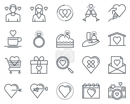 Illustration for Valentines day icon set suitable for info graphics, websites and print media. Black and white flat line icons. - Royalty Free Image
