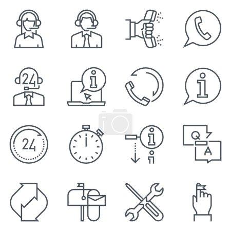 Illustration pour Support et jeu d'icônes du marché du télé adapté aux graphiques d'information, aux sites Web et aux médias imprimés. Icônes de ligne plate noir et blanc . - image libre de droit