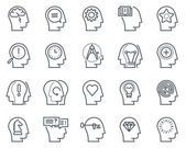 Human head business and motivation icon set