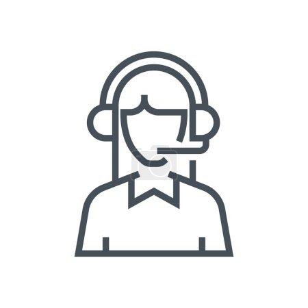 Illustration pour Icône de service à la clientèle masculin adapté pour les graphiques d'information, les sites Web et les médias imprimés et interfaces. Icône vectorielle ligne . - image libre de droit