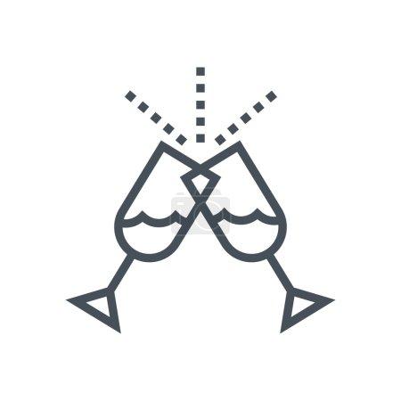 Illustration pour Organisez des événements, icône en verre adaptée aux graphiques info, aux sites Web, aux médias imprimés et aux interfaces. Icône de vecteur de ligne. - image libre de droit
