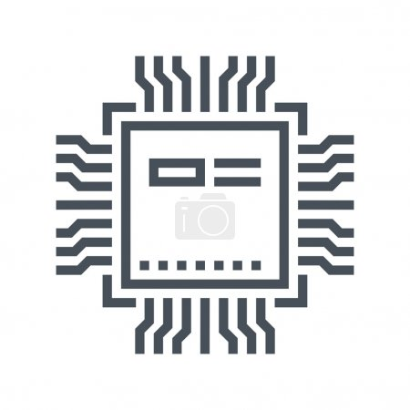 Illustration for Hardware, processor icon suitable for info graphics, websites and print media and  interfaces. Line vector icon. - Royalty Free Image