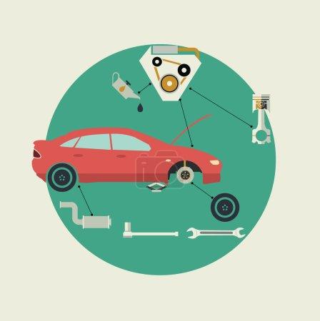 Car Parts Auto Repair Service. Side View. Vector Illustration