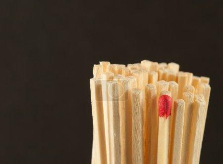 Red matchstick standing among wooden sticks