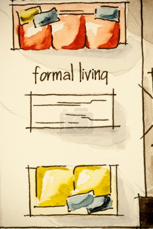watercolor and ink floor plan illustration