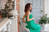 Portrait of a pregnant woman sensual brunette with bright eyes i