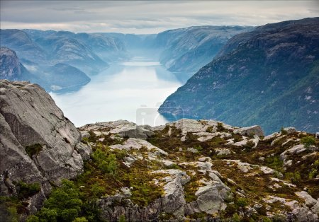 summer vibrant view on Norwegian fjord with a house, forest, ro