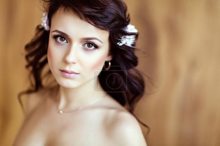 Portrait of a very cute sensual beautiful girls brunette with wa
