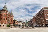 Město Helsingborg ve Švédsku v zamračený den
