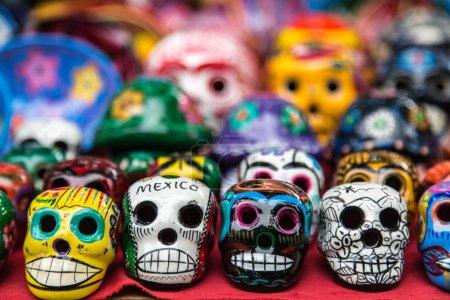 Colorful ceramic skulls for sale at Chichen-Itza, Mexico