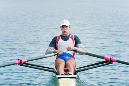 athlete training rowing single scull