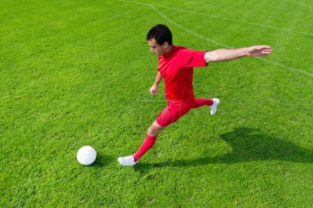 Photo for Soccer player kicking the ball aerial view - Royalty Free Image
