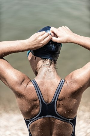 Female triathlete after swimming