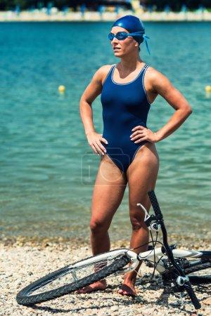 young woman Triathlon athlete