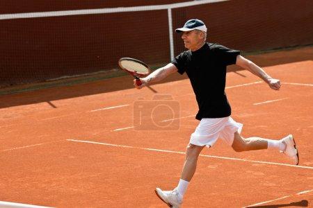 Active senior tennis player
