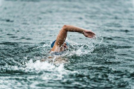 Female marathon swimmer in action