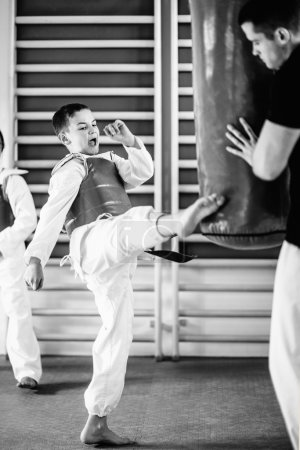 Boy on tae kwon do class