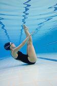 woman exercising underwater