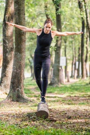 Female athlete keeping balance