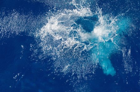 Photo for Big splash on blue water surface, nature background - Royalty Free Image