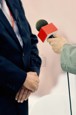 journalist talking to politician