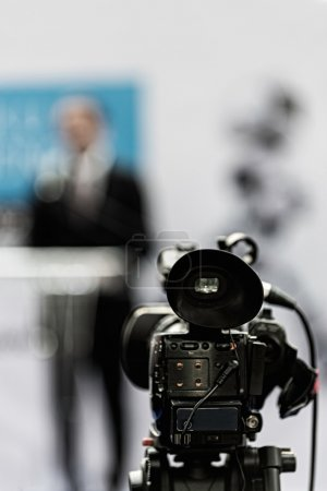 Camera at press conference