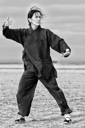 Photo for Woman make Traditional Chinese Energy Exercise - Qi Gong - Royalty Free Image