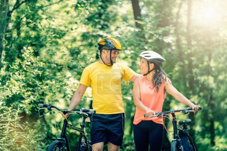 couple in love with bicycles