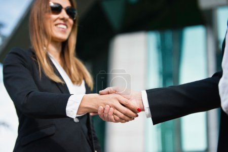 Smiling businesswoman shaking hand