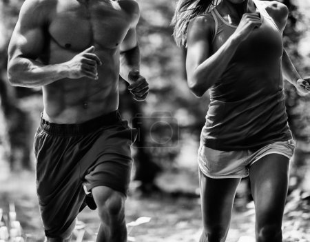 Crossfit athletic couple jogging