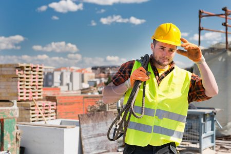 Construction worker with cable