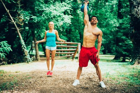 Fitness couple exercising