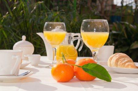 Photo for Al fresco breakfast table setting. Focus on oranges - Royalty Free Image