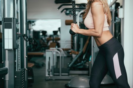 Photo for Cropped image of Woman doing triceps exercise on cable machine in the gym - Royalty Free Image
