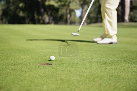 Golfer playing putting shot